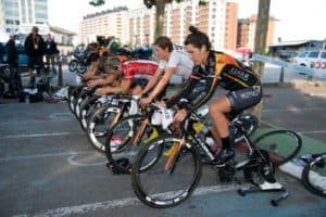 Female Cyclists Warming Up for a Bicycle Race